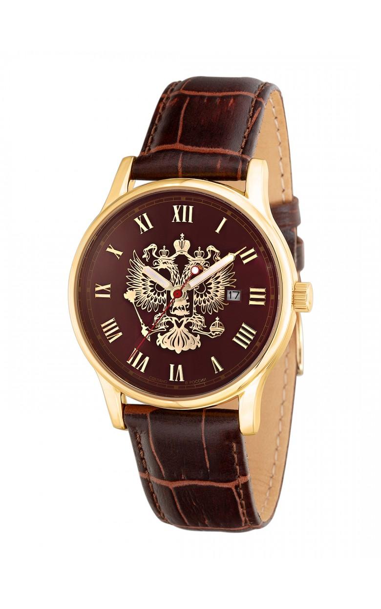 """1409731/2115-300 российские кварцевые наручные часы Слава """"Традиция"""" для мужчин логотип Герб РФ  1409731/2115-300"""