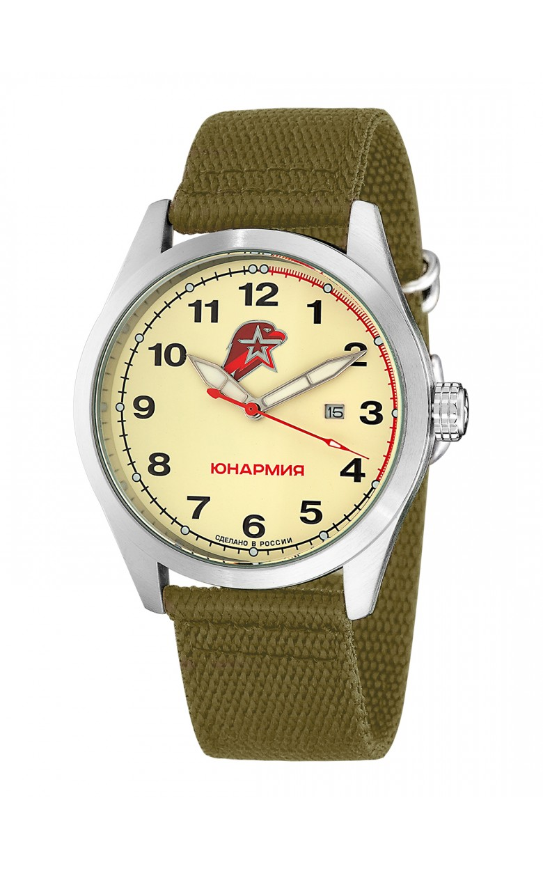 "С2861374-2115-09  кварцевые часы Спецназ ""Атака"" логотип Юнармия  С2861374-2115-09"