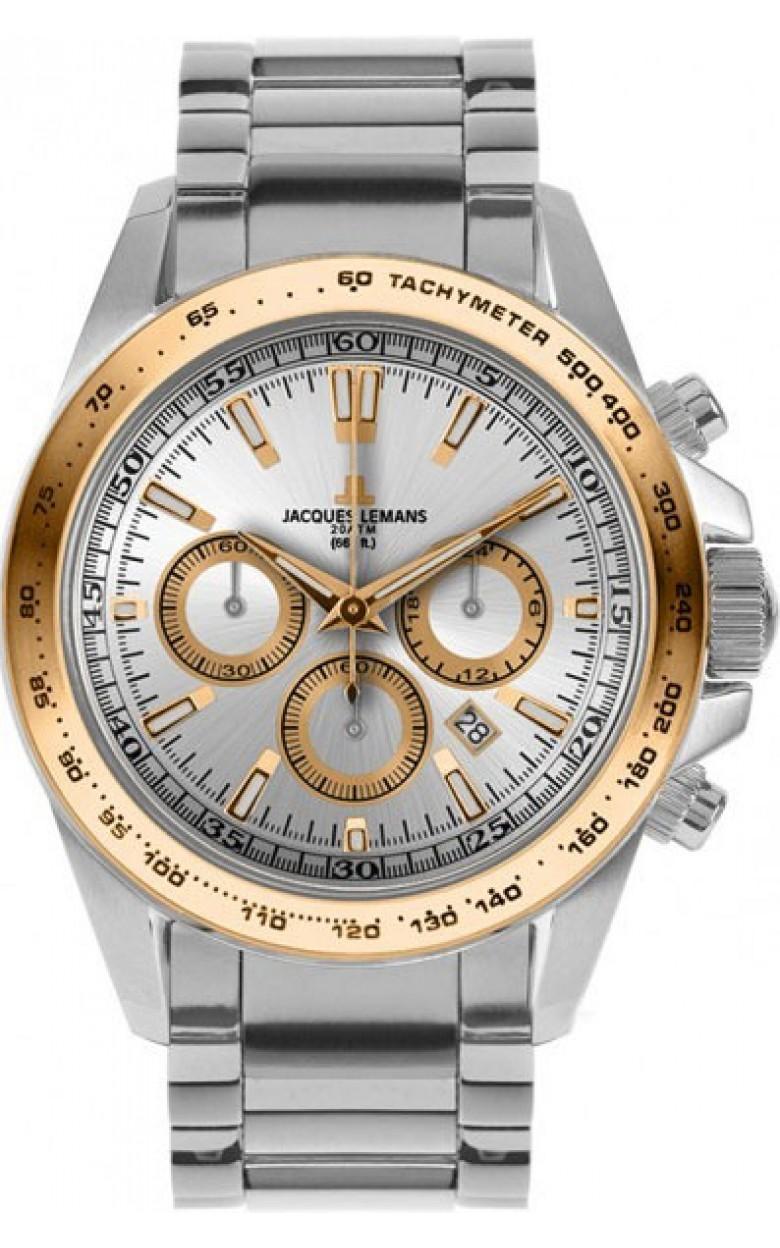 1-1836J  водонепроницаемые мужские кварцевые часы Jacques Lemans  1-1836J