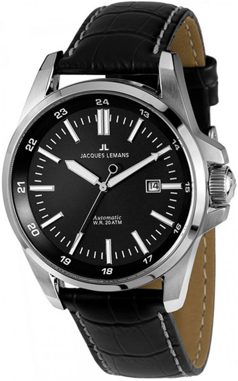 1-1869A  водонепроницаемые мужские механические наручные часы Jacques Lemans  1-1869A