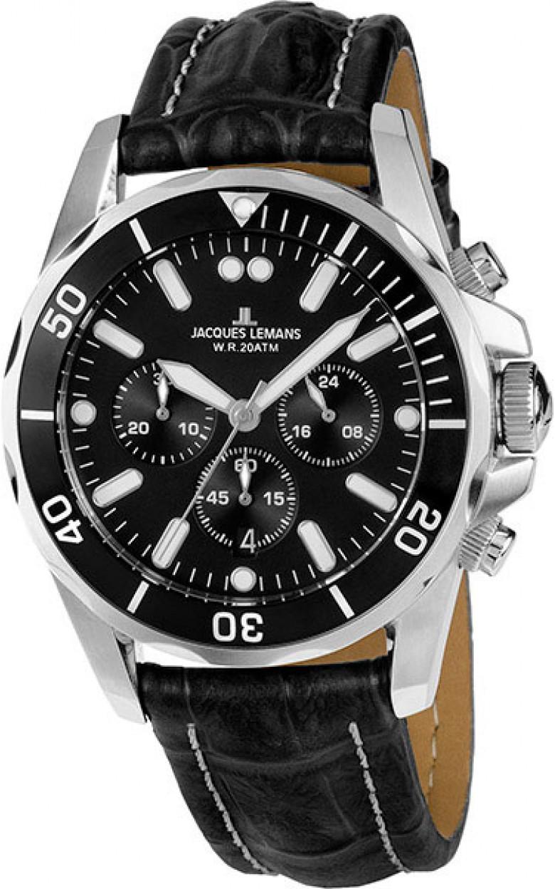 1-1907ZA  водонепроницаемые мужские кварцевые часы Jacques Lemans  1-1907ZA