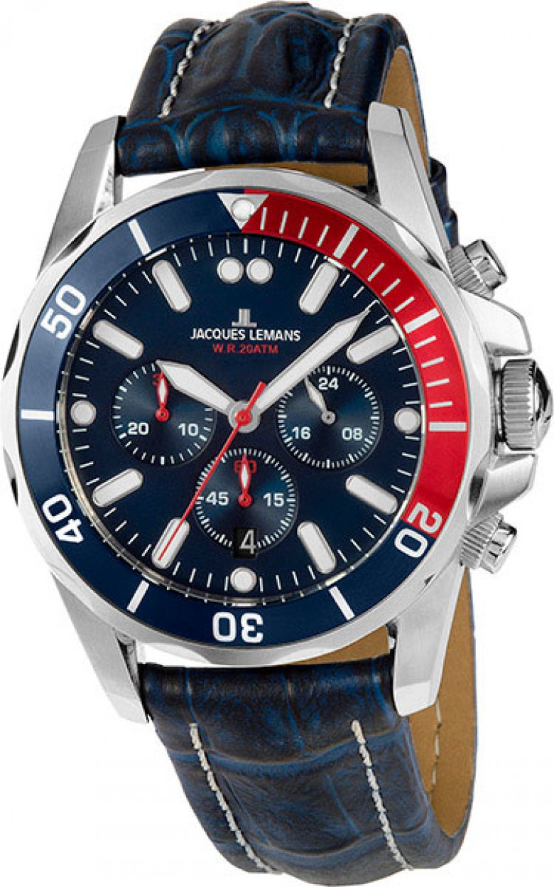 1-1907ZB  водонепроницаемые кварцевые наручные часы Jacques Lemans для мужчин  1-1907ZB