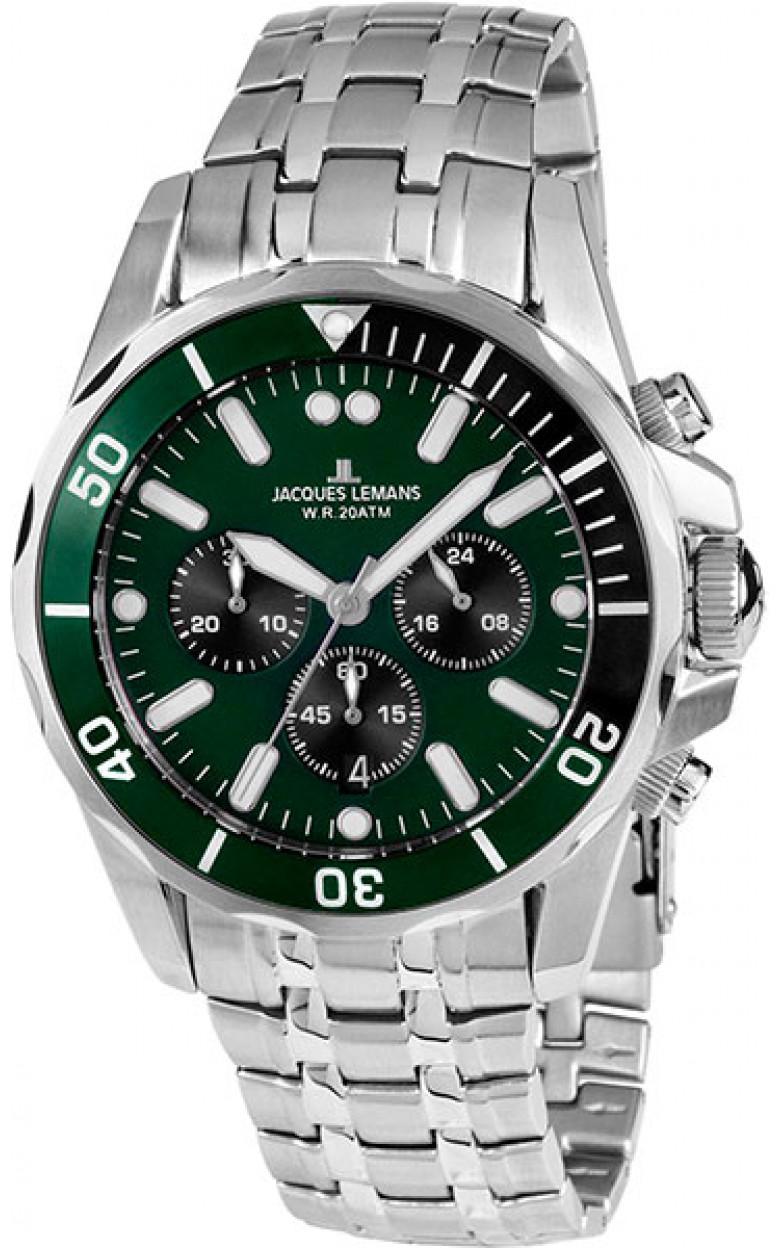 1-1907ZG  водонепроницаемые мужские кварцевые часы Jacques Lemans  1-1907ZG
