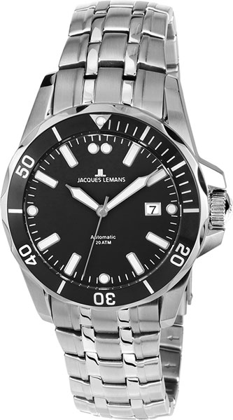 1-1910A  водонепроницаемые мужские механические наручные часы Jacques Lemans  1-1910A