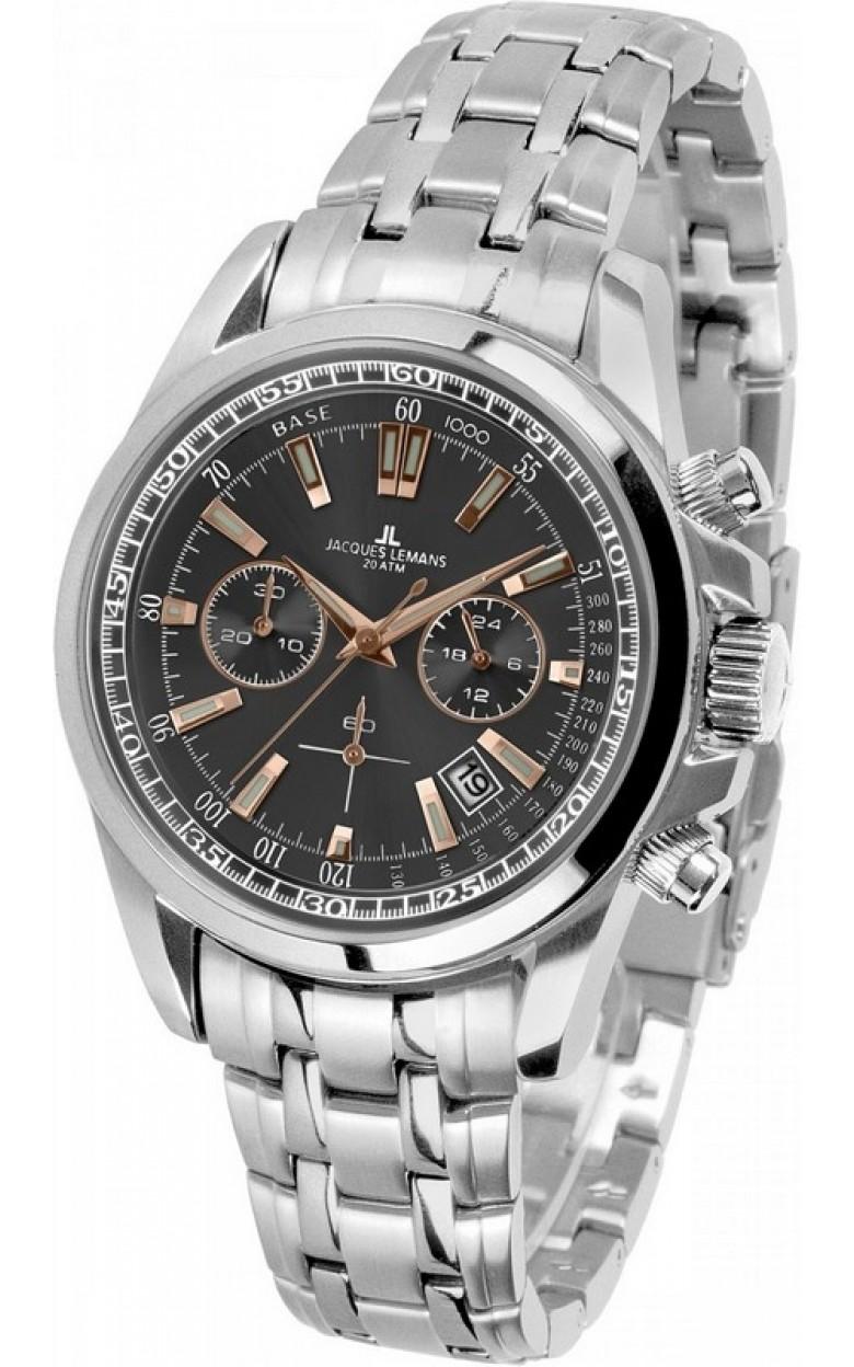 1-1117XN  водонепроницаемые мужские кварцевые наручные часы Jacques Lemans  1-1117XN