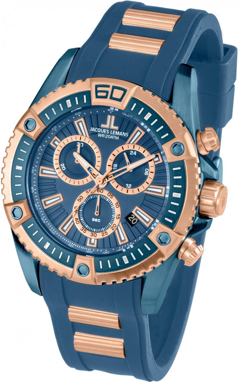1-1805E  водонепроницаемые мужские кварцевые наручные часы Jacques Lemans  1-1805E