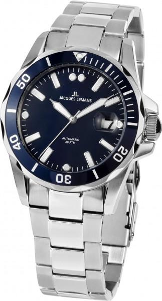 1-2014B  водонепроницаемые механические наручные часы Jacques Lemans для мужчин  1-2014B