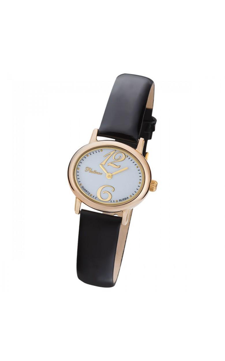 """74150.106 российские золотые женские кварцевые наручные часы Platinor """"Аврора""""  74150.106"""