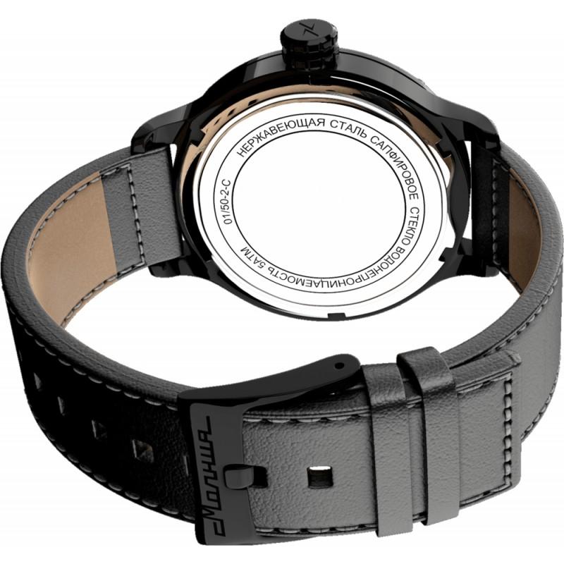 0010102-2.1 Часы наручные Молния с автоподзаводом черный 0010102-2.1