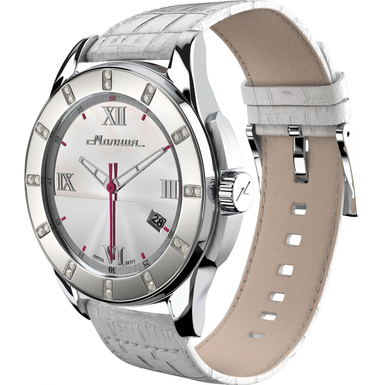 00701001 Часы наручные Молния Жемчуг стальной безель 00701001