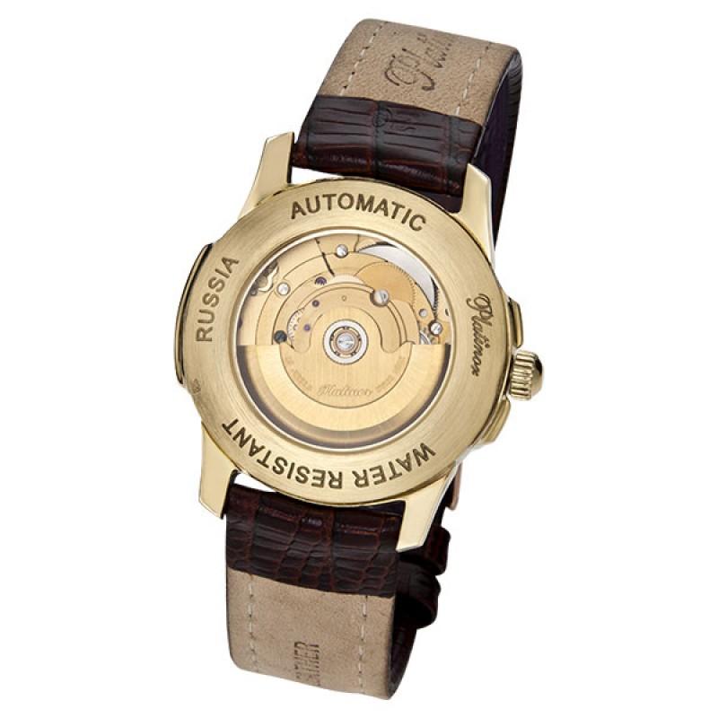 """41260.115 российские золотые мужские механические часы Platinor """"Монако""""  41260.115"""