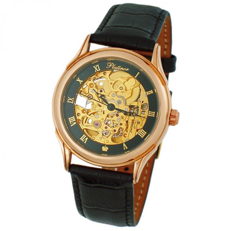 41950.256 Часы мужские наручные механика автоподзавод Чайка Скелетон  зол. 585* 41950.256