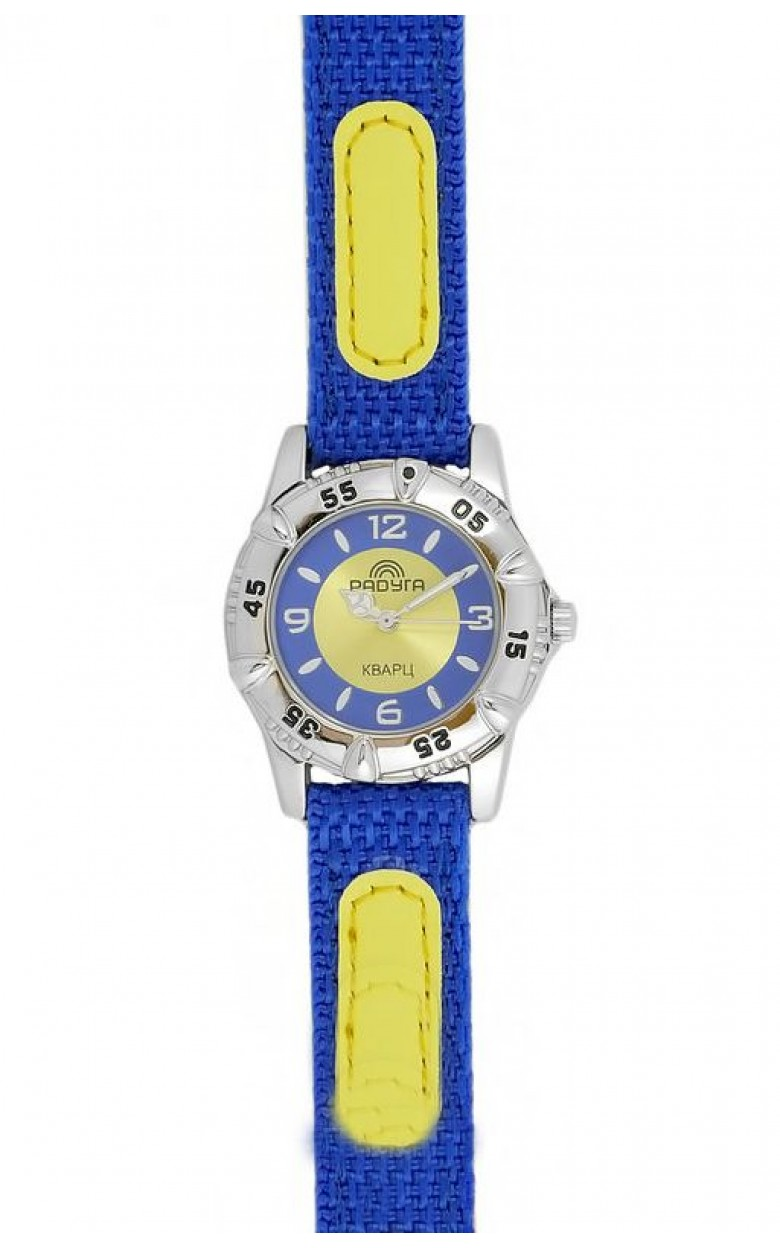 105-2 сине/желтые российские детские кварцевые наручные часы Радуга  105-2 сине/желтые