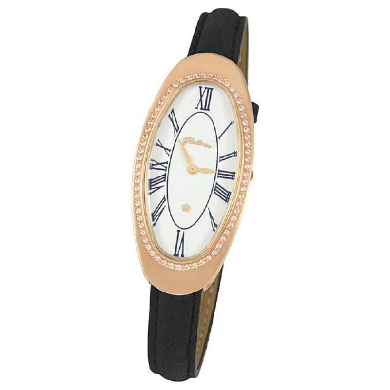 """92856.121 российские золотые кварцевые наручные часы Platinor """"Стефани"""" для женщин  92856.121"""