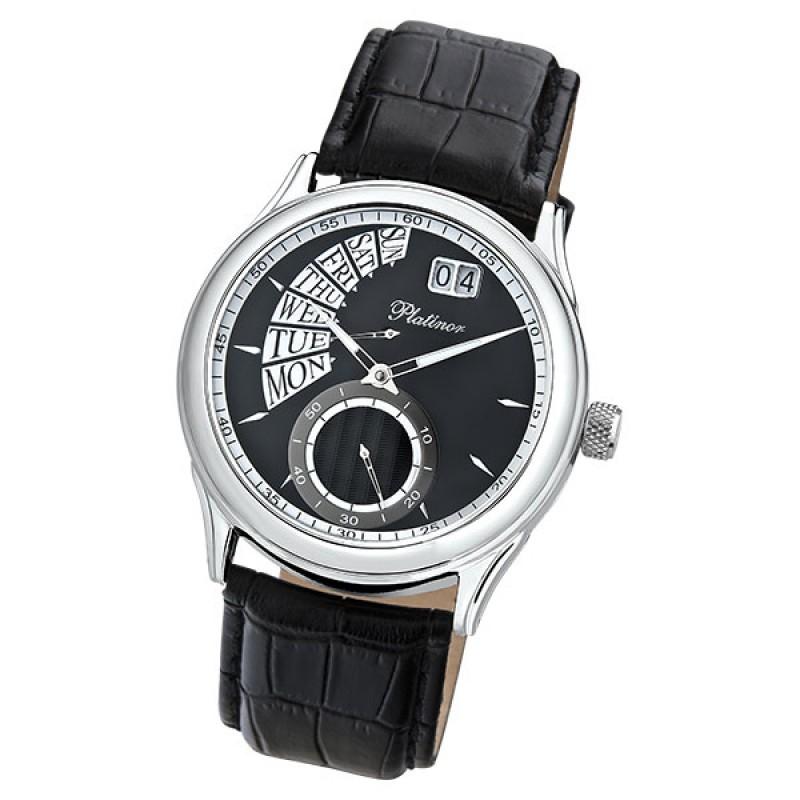 """52700.107 российские серебрянные кварцевые наручные часы Platinor """"Посейдон"""" для мужчин  52700.107"""