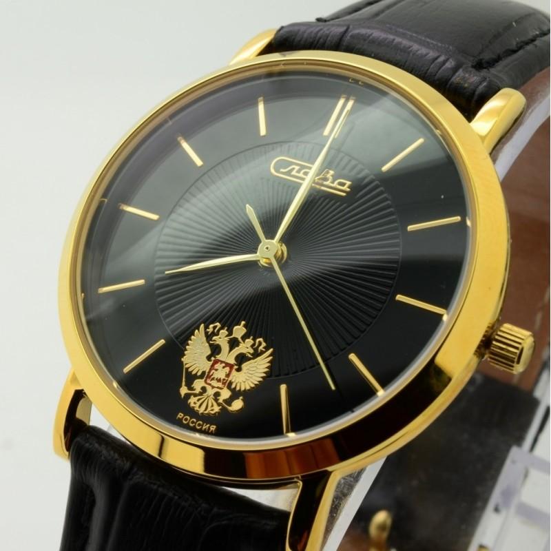 """1129378/300-2025 российские кварцевые наручные часы Слава """"Премьер"""" для мужчин логотип Герб РФ  1129378/300-2025"""