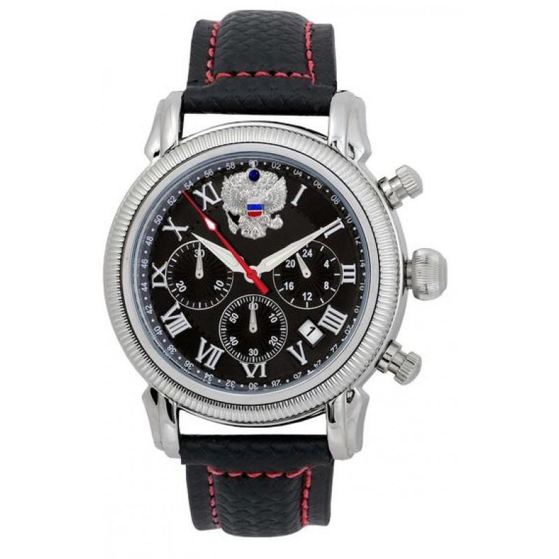 3132/1841161П российские мужские кварцевые наручные часы Полёт-Стиль логотип Герб РФ  3132/1841161П