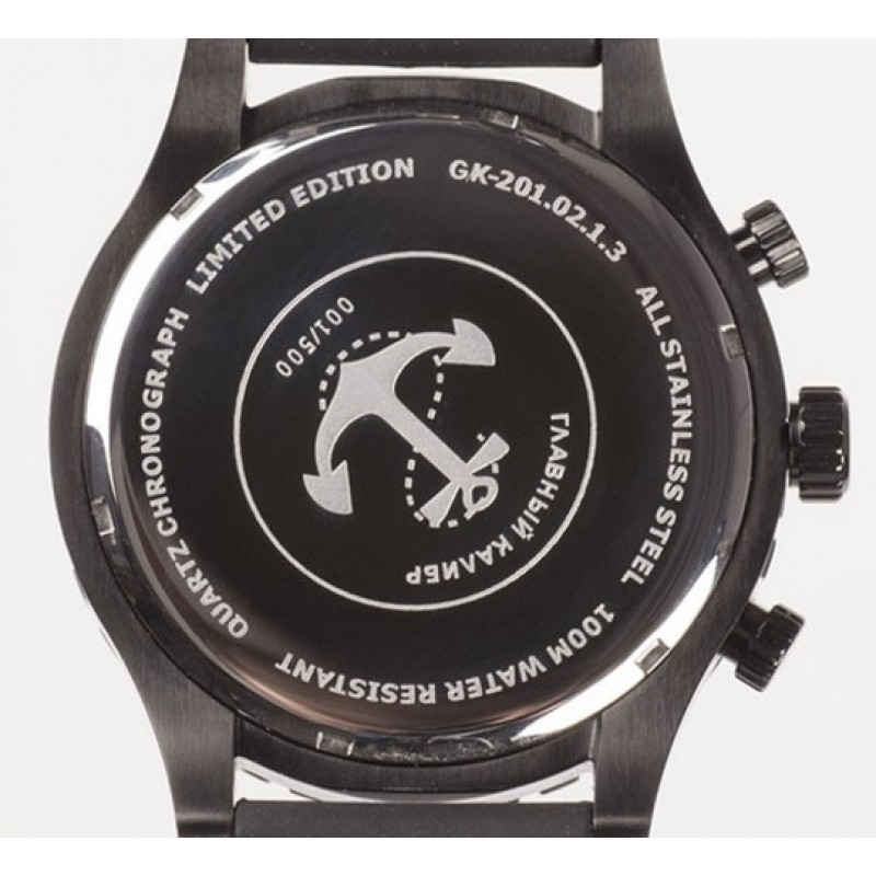 "GK-201.02.1.3S  кварцевые с функциями хронографа наручные часы Главный калибр ""Морская пехота""  GK-201.02.1.3S"