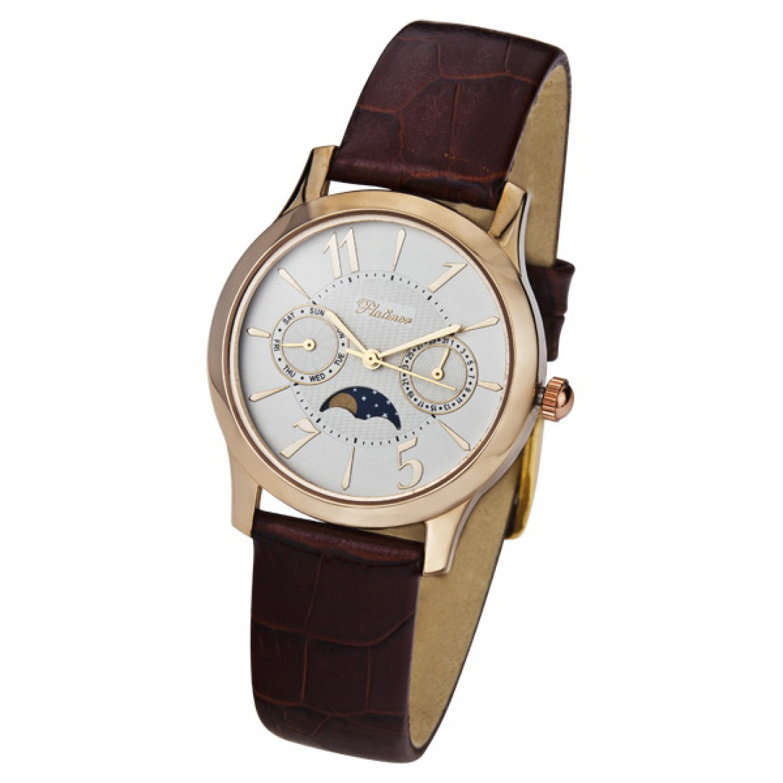 54850-1.103 российские золотые кварцевые наручные часы Platinor