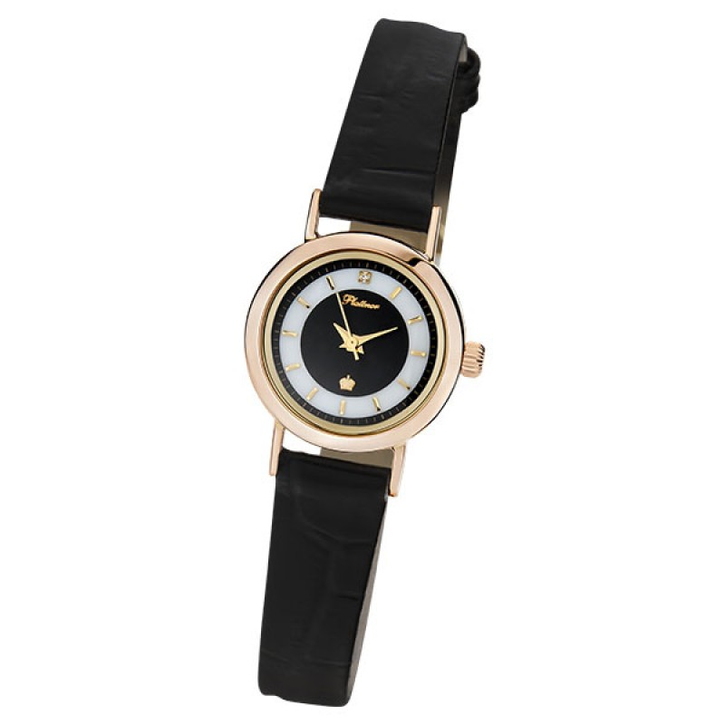 """98150-2.305 российские золотые кварцевые наручные часы Platinor """"Ритм"""" для женщин  98150-2.305"""