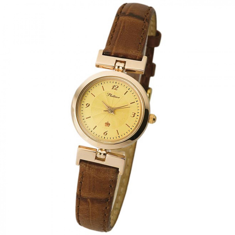 98250 российские золотые кварцевые наручные часы Platinor