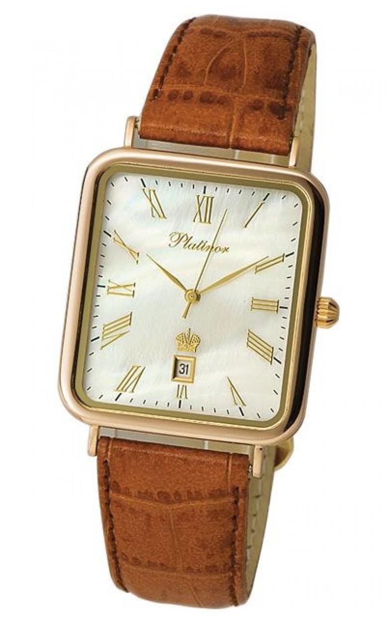 """54650.315 российские золотые мужские кварцевые часы Platinor """"Атлант""""  54650.315"""