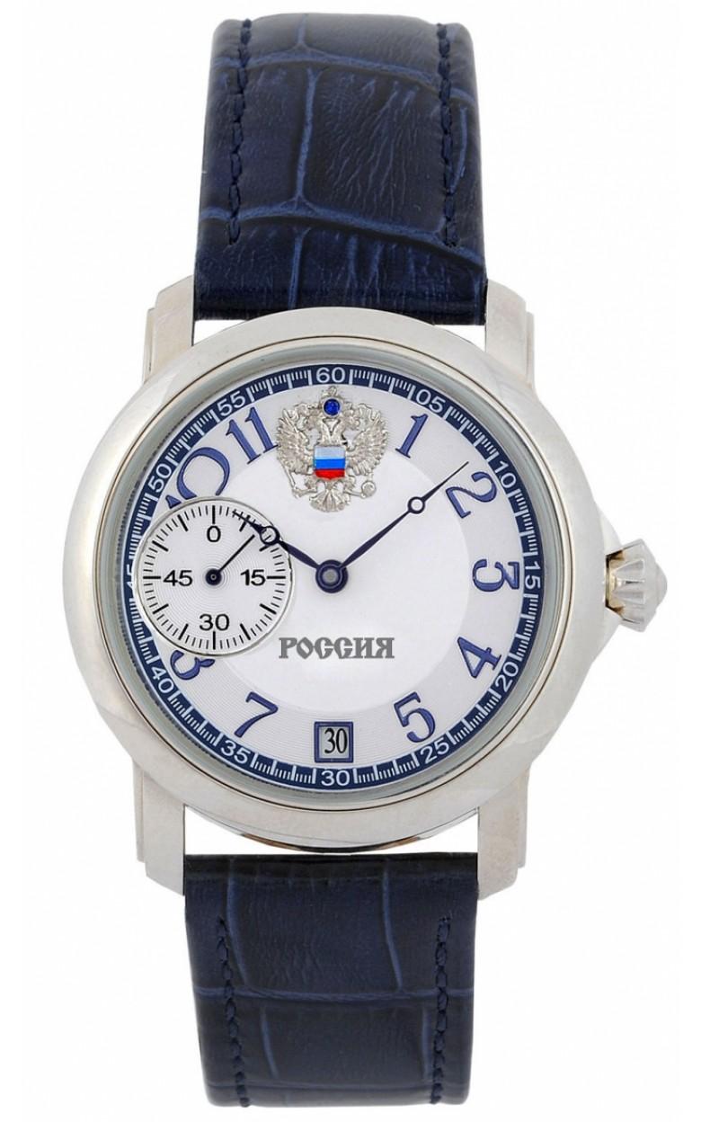 3105/119109П российские серебрянные мужские механические наручные часы Полёт-Стиль логотип Герб РФ  3105/119109П