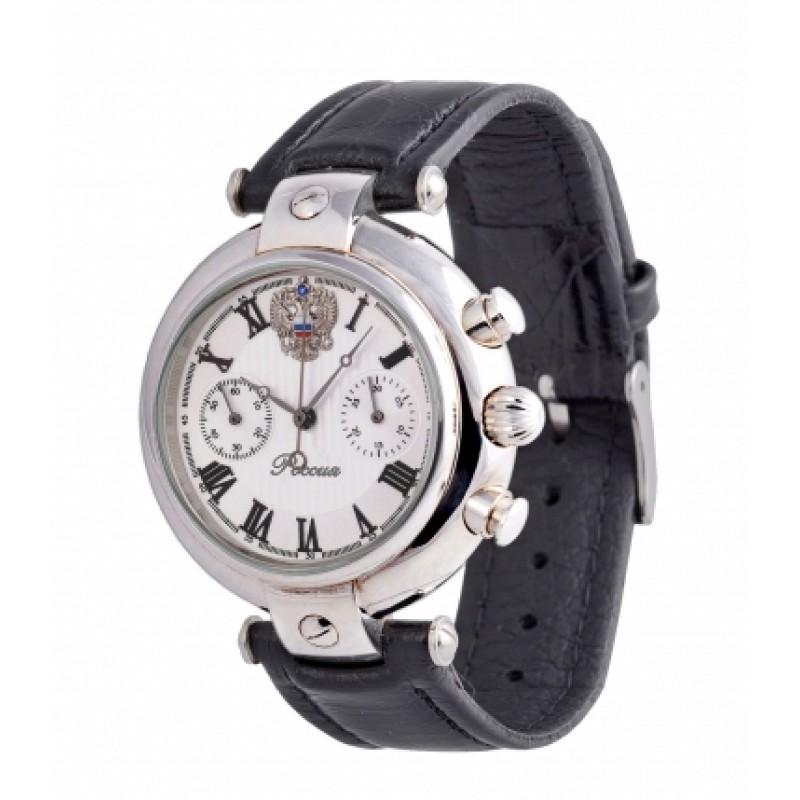 3140/4441225П российские серебрянные мужские механические наручные часы Премиум-Стиль логотип Герб РФ  3140/4441225П