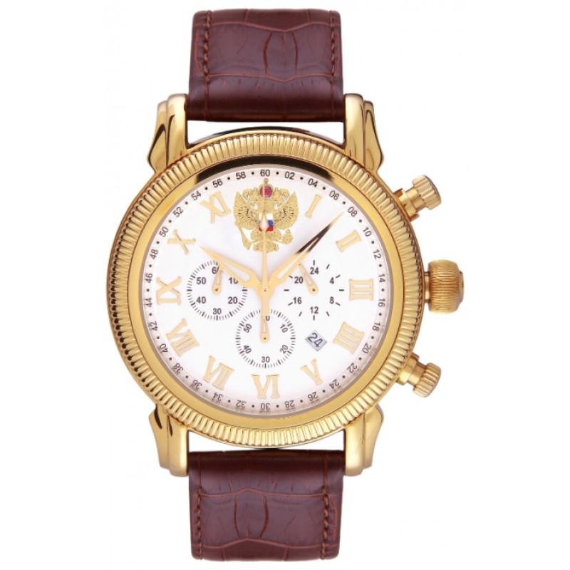 3132/1846158П1 российские кварцевые наручные часы Полёт-Стиль для мужчин логотип Герб РФ  3132/1846158П1