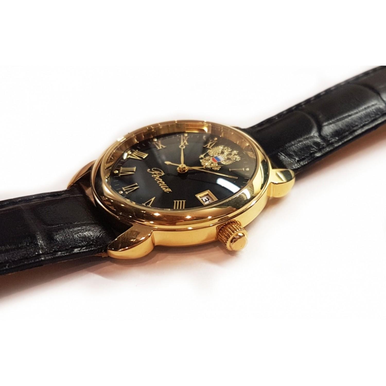 2315/4006681П российские кварцевые наручные часы Полёт-Стиль для мужчин логотип Герб РФ  2315/4006681П