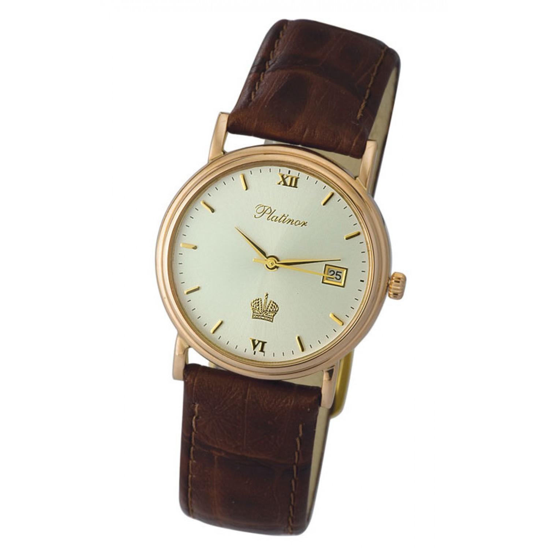 """50650.305 российские золотые мужские кварцевые наручные часы Platinor """"Витязь""""  50650.305"""
