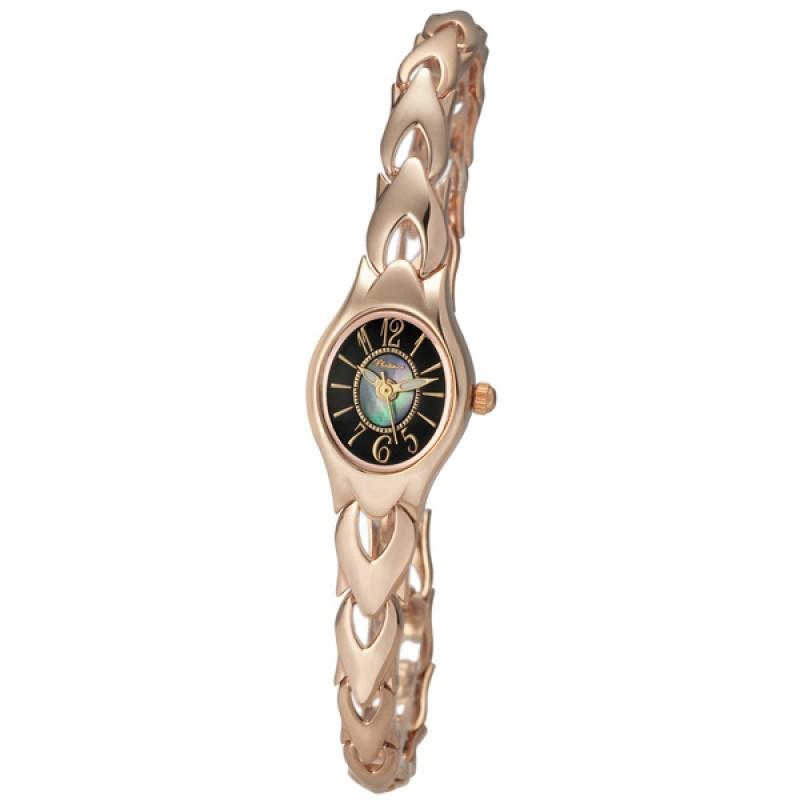 """78250.520 российские золотые женские кварцевые часы Platinor """"Илона""""  78250.520"""