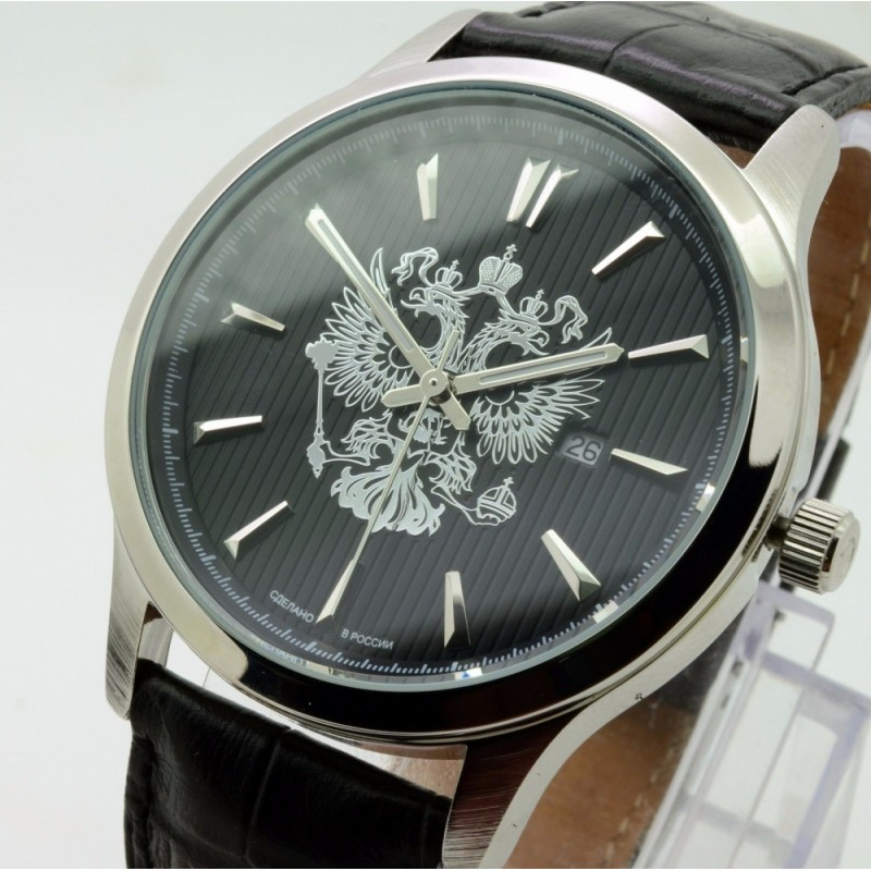 """1311579/2115-300 российские кварцевые наручные часы Слава """"Традиция"""" для мужчин логотип Герб РФ  1311579/2115-300"""