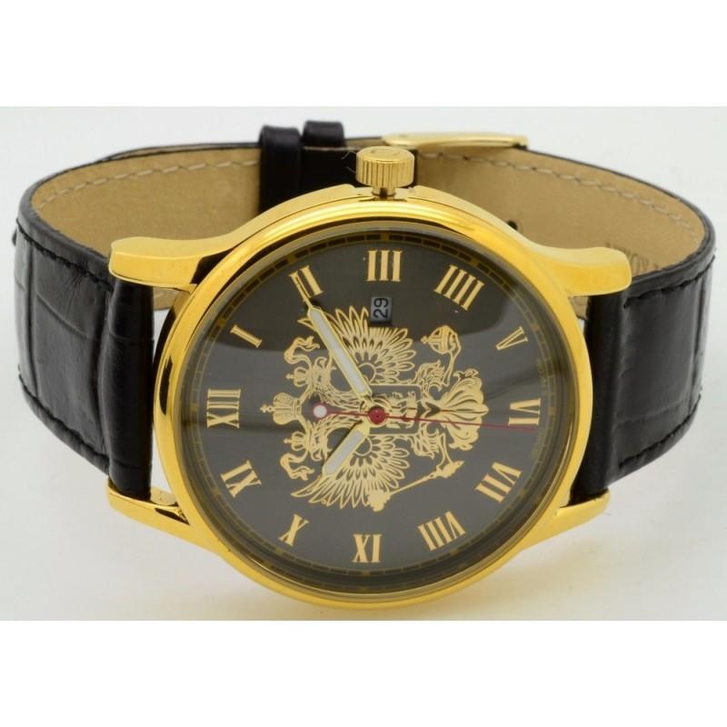 """1409730/2115-300 российские кварцевые наручные часы Слава """"Традиция"""" для мужчин логотип Герб РФ  1409730/2115-300"""