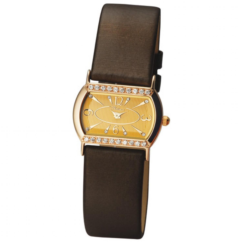 """98556-1 российские золотые кварцевые наручные часы Platinor """"Юнона"""" для женщин  98556-1"""