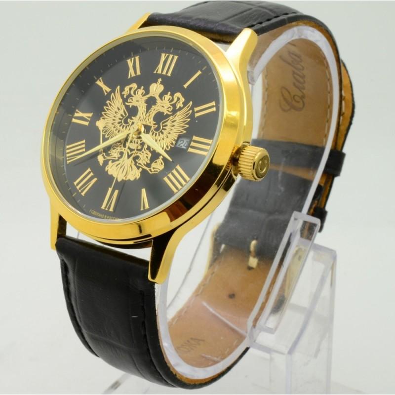 """1269393/2115-300 российские кварцевые наручные часы Слава """"Традиция"""" для мужчин логотип Герб РФ  1269393/2115-300"""