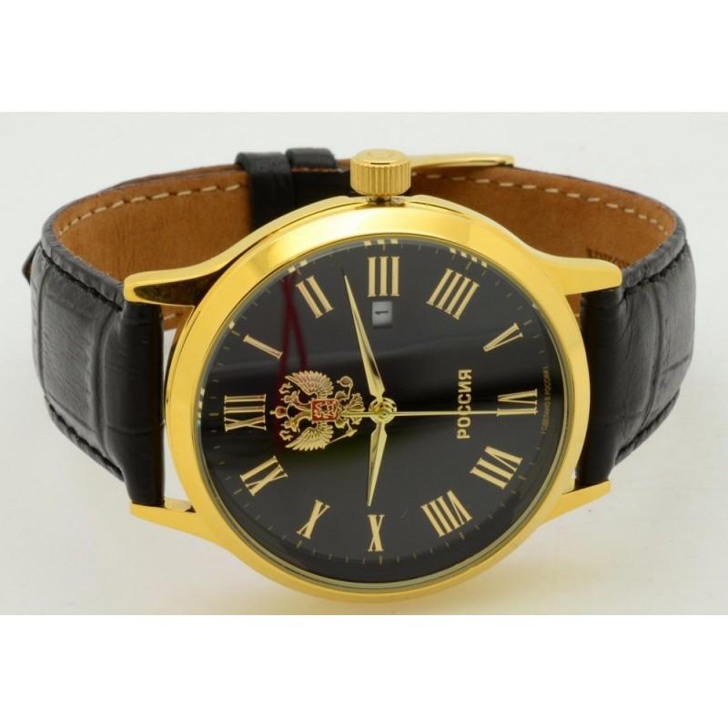 """1269460/2115-300 российские кварцевые наручные часы Слава """"Традиция"""" для мужчин логотип Герб РФ  1269460/2115-300"""