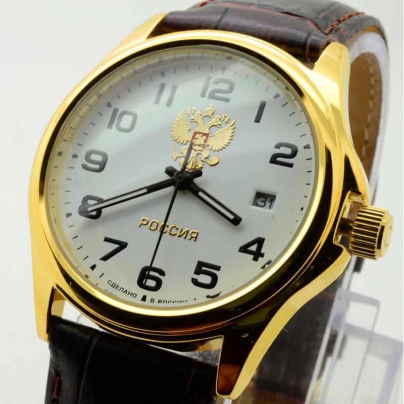 """1259620/2115-300  кварцевые наручные часы Слава """"Традиция"""" логотип Герб РФ  1259620/2115-300"""