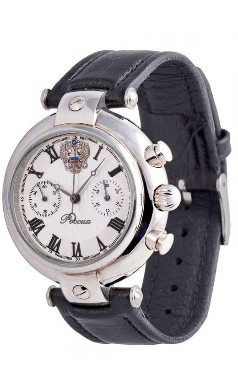 3140/4441226П российские серебряные мужские механические наручные часы Полёт-Стиль логотип Герб РФ  3140/4441226П