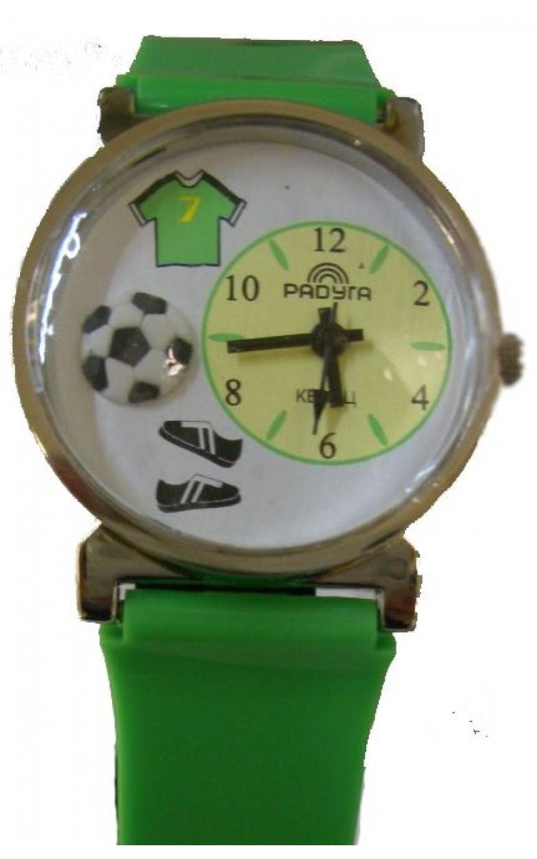 109 салатовый футбол российские детские кварцевые часы Радуга  109 салатовый футбол