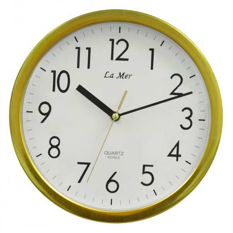 Часы настенные круглые с плавным ходом секундной стрелки la mer gl 3 руб.