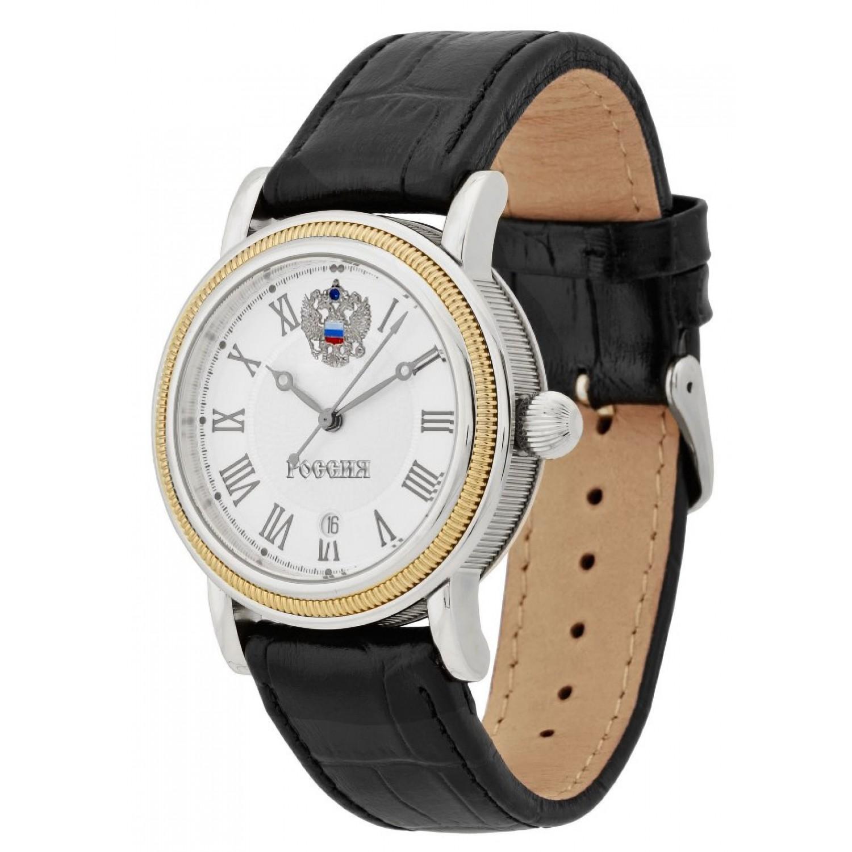 8215/5807322П российские механические наручные часы Полёт-Стиль для мужчин логотип Герб РФ  8215/5807322П