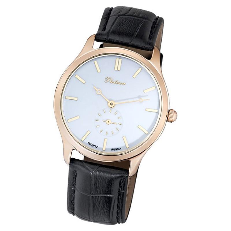 """53250.403 российские золотые мужские кварцевые наручные часы Platinor """"Гольфстрим""""  53250.403"""