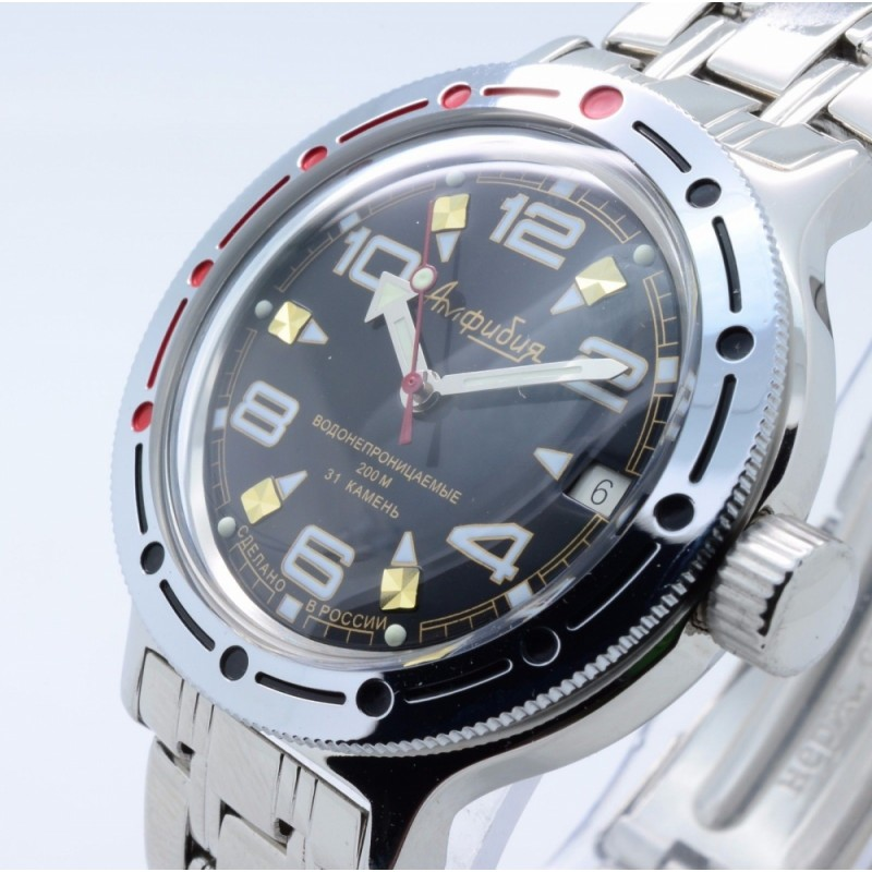 """420335 российские водонепроницаемые военные механические наручные часы Восток """"Амфибия"""" для мужчин  420335/2416"""