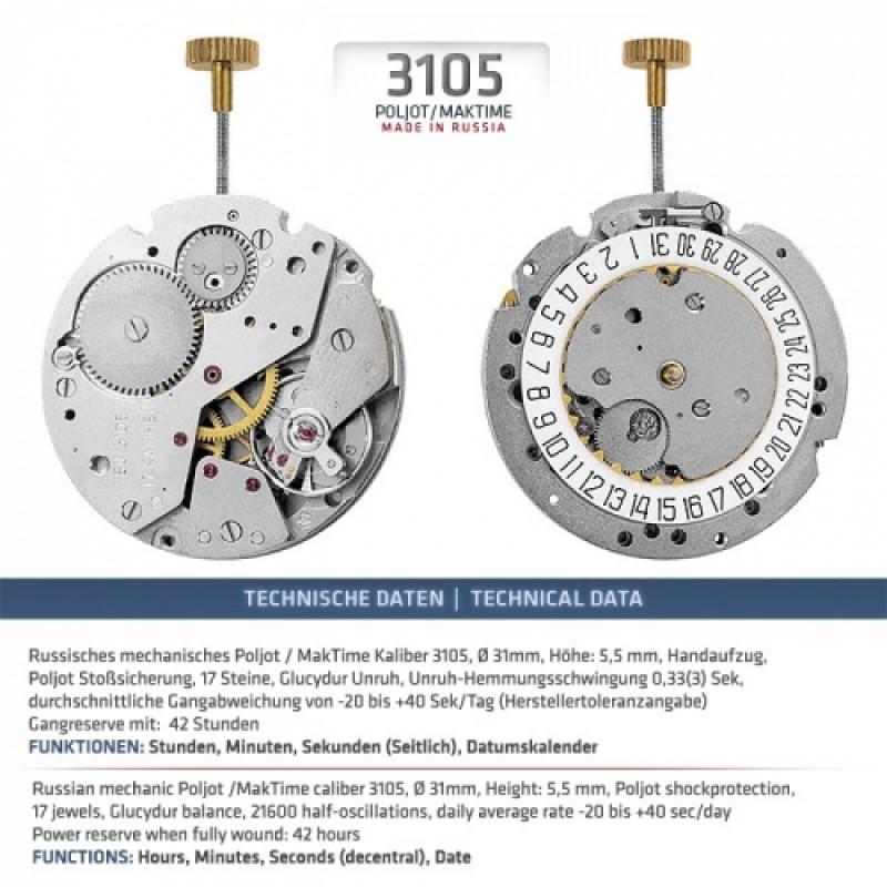 "3105/1735715 B Часы наручные ""Авиатор"""