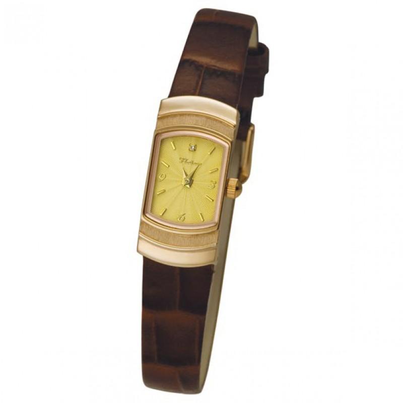 """98350.304 российские золотые кварцевые наручные часы Platinor """"Любава"""" для женщин  98350.304"""