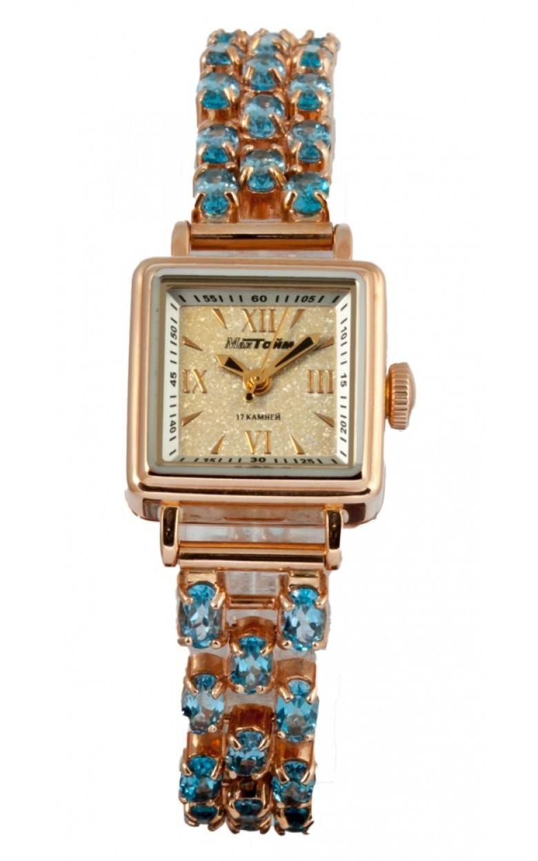 907511Tz-27,08 российские золотые кварцевые наручные часы Мактайм для женщин  907511Tz-27,08