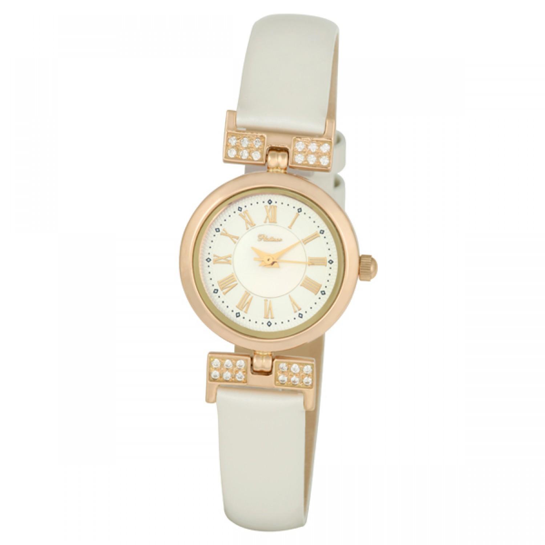 """98256.105 российские золотые женские кварцевые наручные часы Platinor """"Ритм""""  98256.105"""