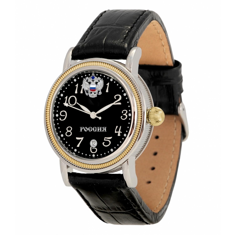 8215/5807324П российские мужские механические наручные часы Полёт-Стиль логотип Герб РФ  8215/5807324П